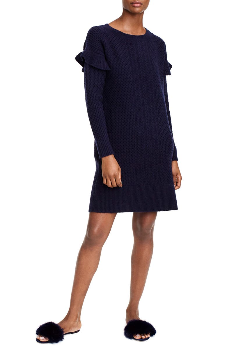 J.CREW Holden Ruffle Sleeve Cable Knit Sweater Dress, Main, color, NAVY