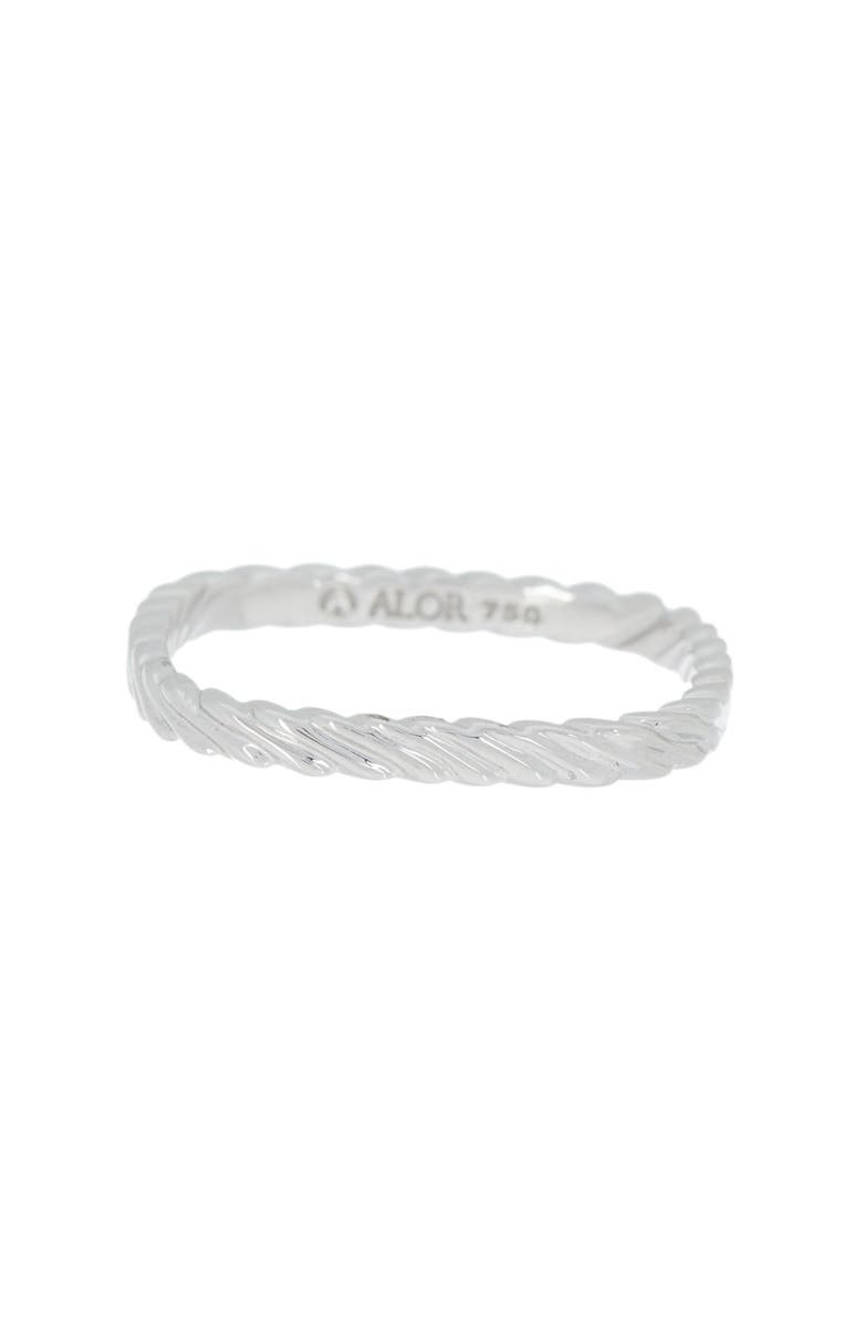 ALOR 18K White Gold Twisted Squared Ring - Size 6.5, Main, color, 18KT WG
