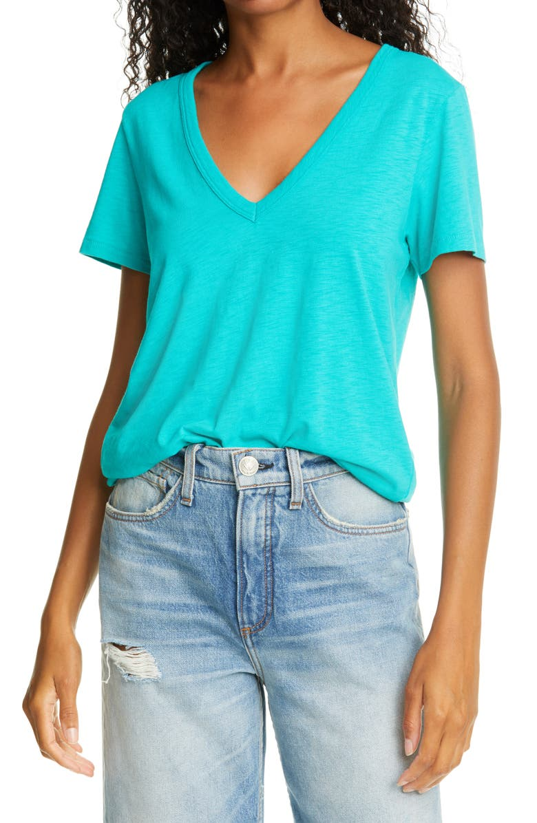 RAG & BONE The Slub Vee T-Shirt, Main, color, TROPICAL BLUE