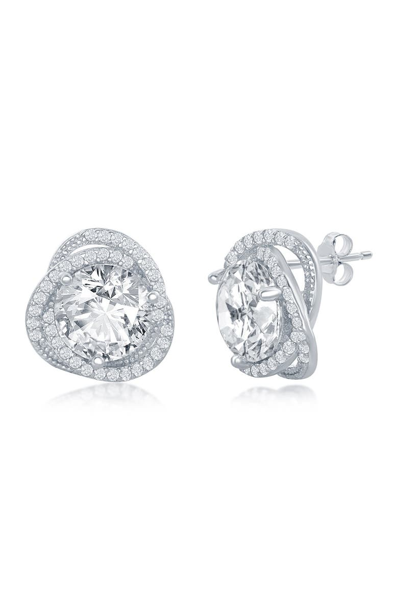 SIMONA Sterling Silver Round-Cut CZ Flower Design Stud Earrings, Main, color, SILVER