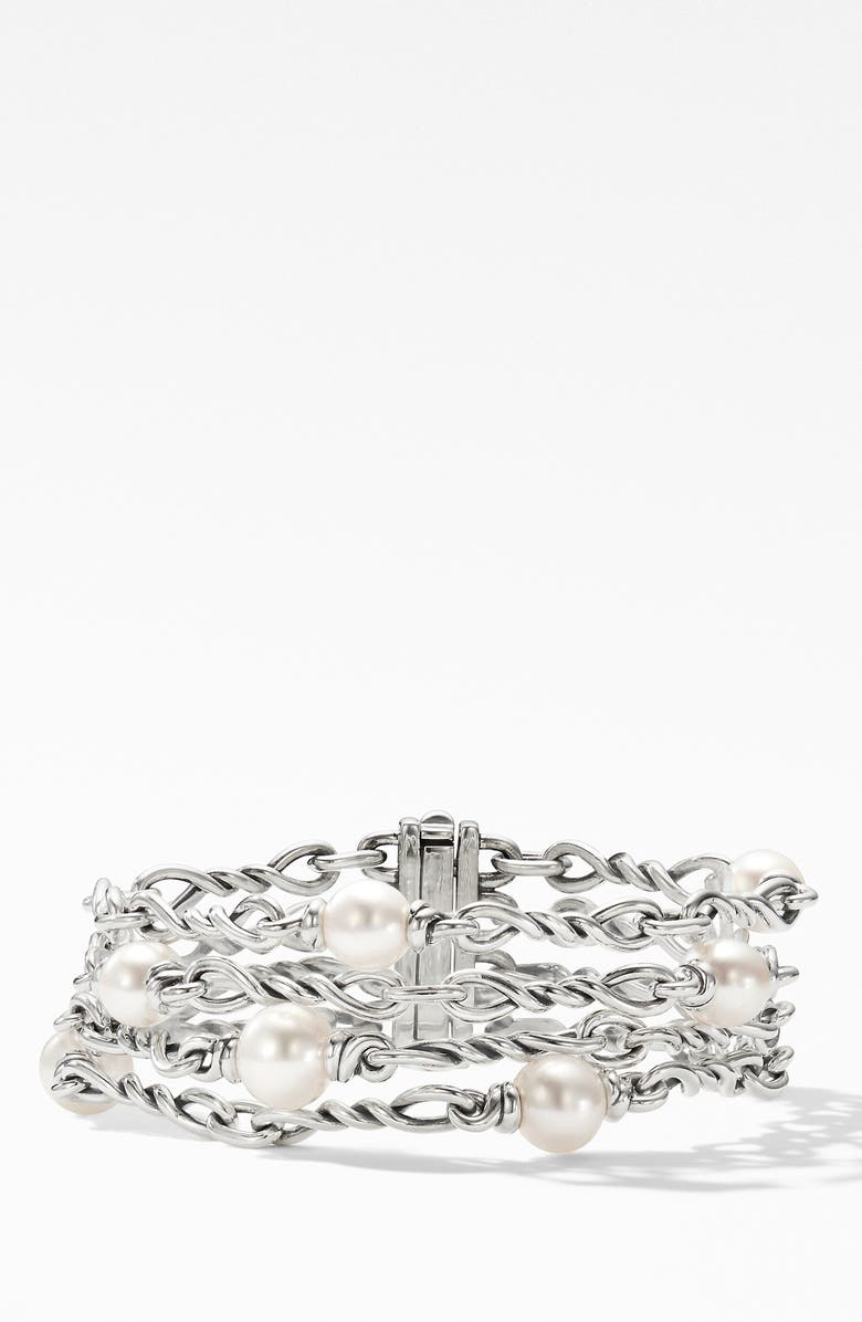 DAVID YURMAN Continuance<sup>®</sup> Pearl Chain Bracelet, Main, color, SILVER/ PEARL