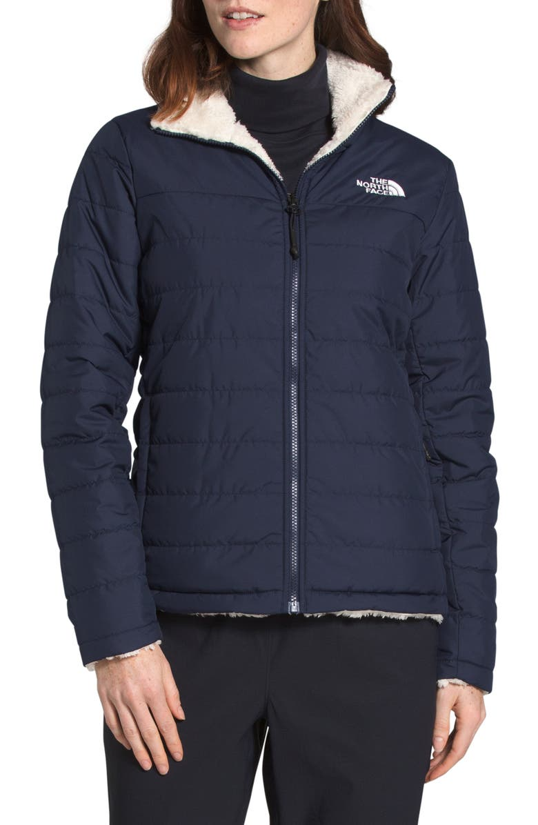 THE NORTH FACE Mossbud Insulated Water Repellent Reversible Jacket, Main, color, AVIATOR NAVY/VINTAGE WHITE