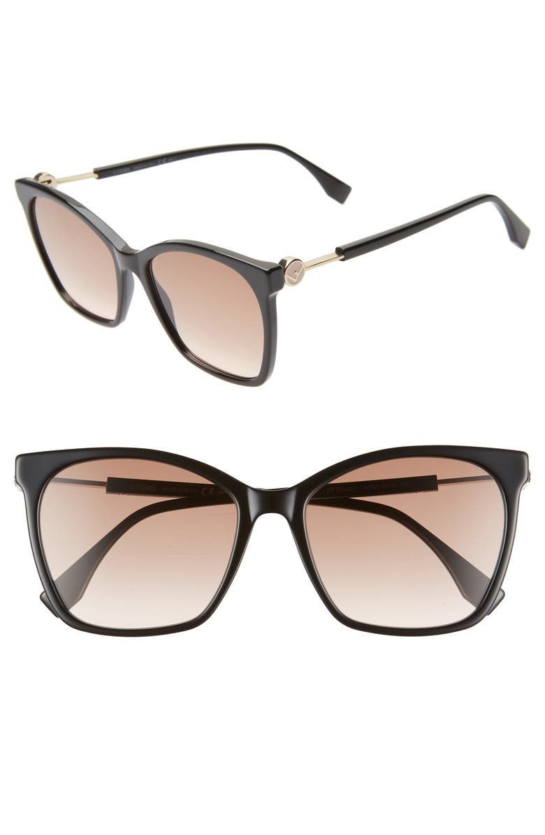 FENDI 57mm Gradient Square Sunglasses, Main, color, 001
