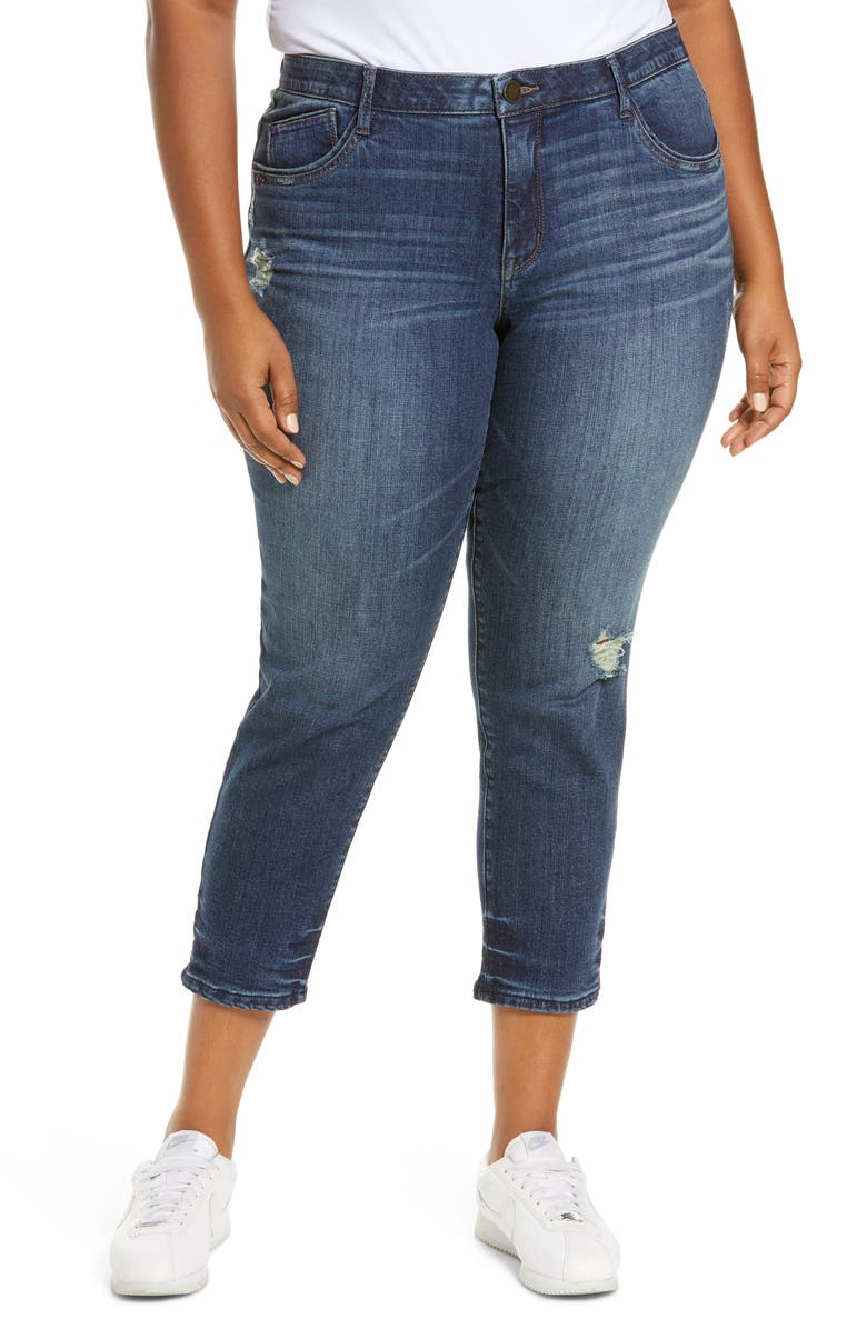WIT & WISDOM Ab-Solution High Waist Distressed Crop Skinny Jeans, Main, color, BLUE