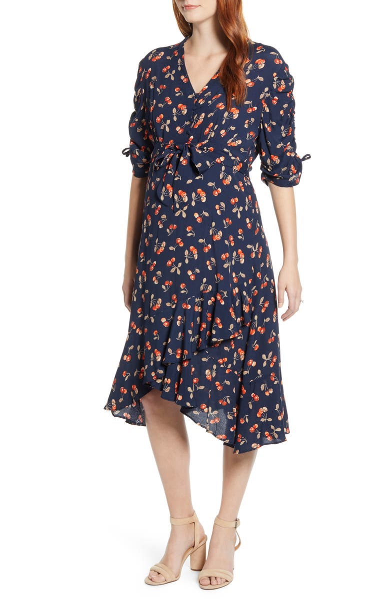 ANGEL MATERNITY Bella Cherry Print Maternity Dress, Main, color, NAVY & RED PRINT