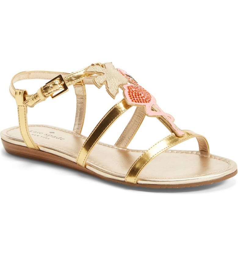 KATE SPADE NEW YORK 'tammy' metallic leather ankle strap sandal, Main, color, Gold
