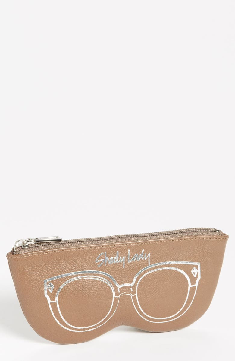 REBECCA MINKOFF 'Shady Lady' Leather Sunglasses Case, Main, color, TAUPE