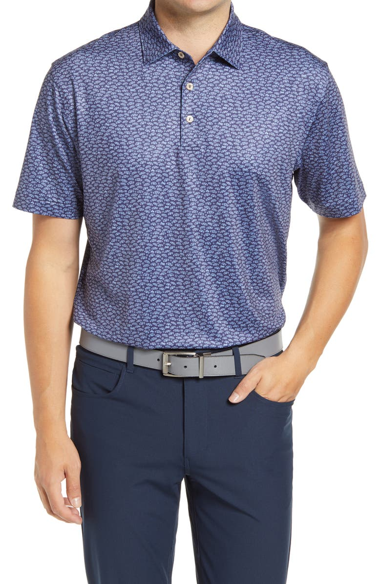 PETER MILLAR Fillmore Car Print Performance Polo, Main, color, NAVY