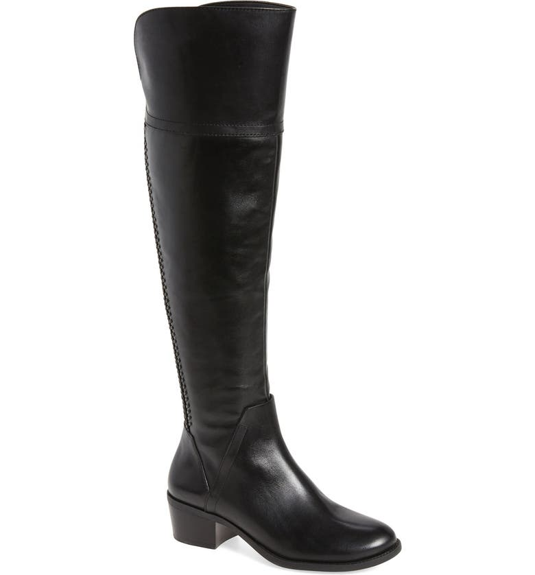 VINCE CAMUTO Bendra Over the Knee Split Shaft Boot, Main, color, BLACK LEATHER