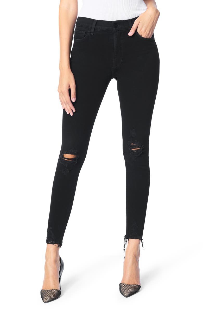 JOE'S The Charlie Ripped Raw Hem Ankle Skinny Jeans, Main, color, OBSIDIAN