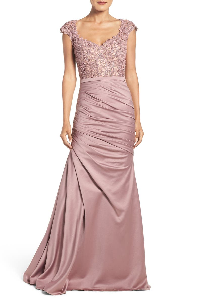 LA FEMME Embellished Lace & Satin Trumpet Gown, Main, color, MAUVE