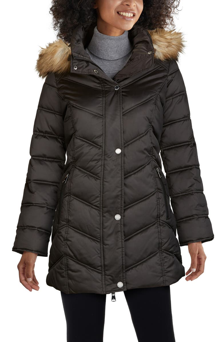 KENNETH COLE NEW YORK Faux Fur Trim Puffer Jacket, Main, color, BLACK