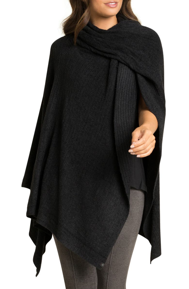 BAREFOOT DREAMS<SUP>®</SUP> CozyChic Lite<sup>®</sup> Ribbed Travel Wrap, Main, color, BLACK