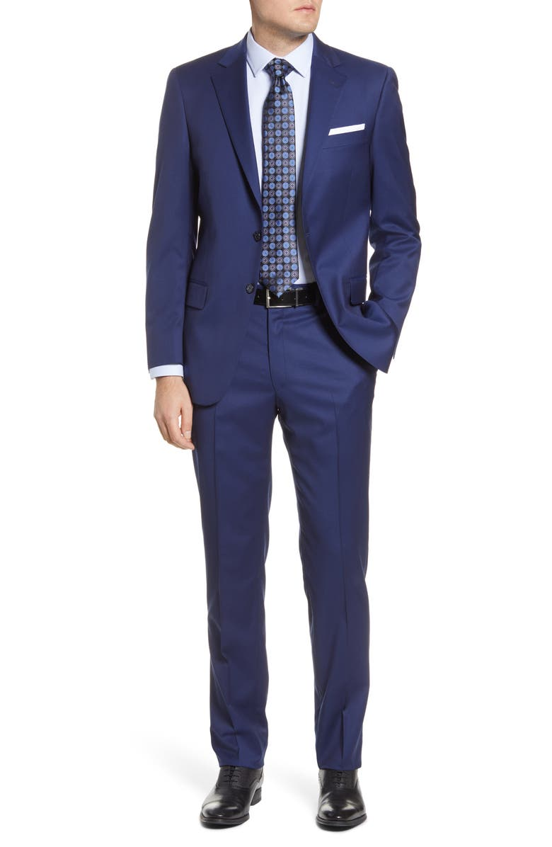 HART SCHAFFNER MARX New York Classic Fit Solid Stretch Wool Suit, Main, color, NAVY