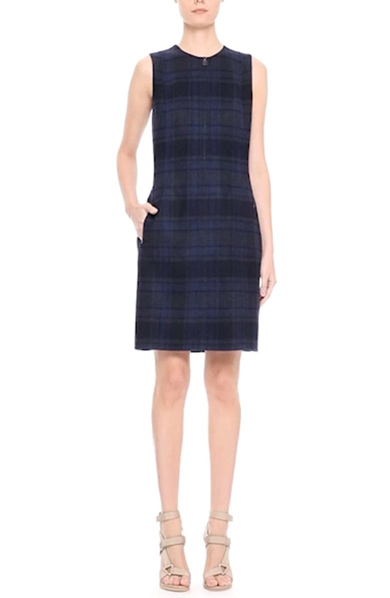 AKRIS Reversible Front Zip Double Face Wool Sheath Dress, Main, color, STARLING