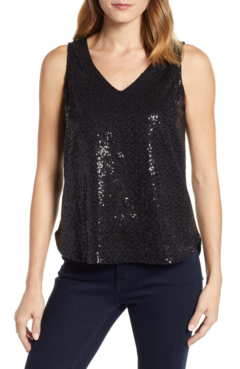 GIBSONLOOK Gibson x Glam Squad Cassie V-Neck Sequin Tank, Main, color, 001