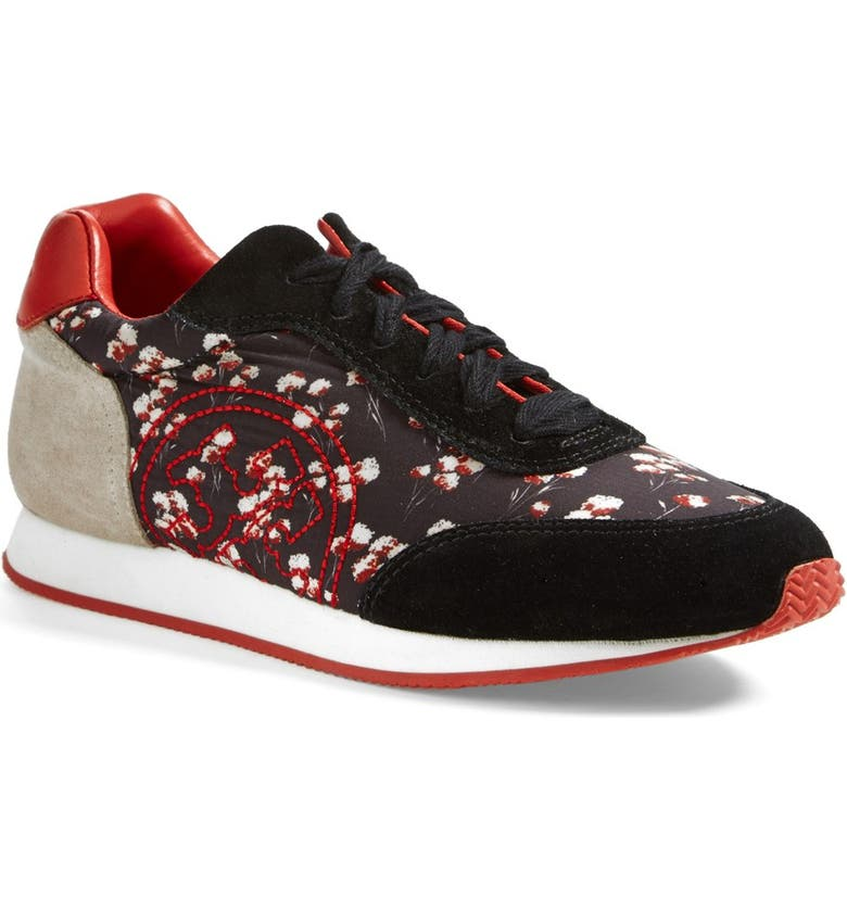 TORY BURCH 'Delancey' Print Sneaker, Main, color, FIELD FLOWERS/ BLACK/ KNOT