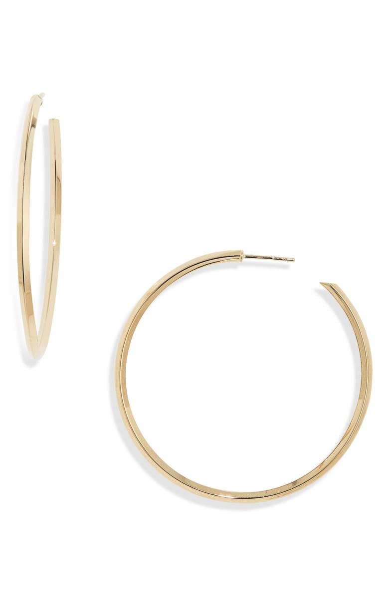 LANA JEWELRY Pointed Royale Hoop Earrings, Main, color, YELLOW GOLD