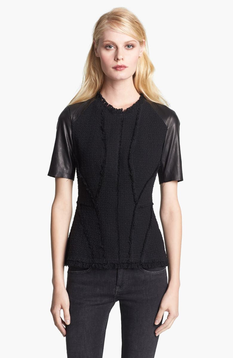 REBECCA TAYLOR Tweed & Leather Tee, Main, color, 001