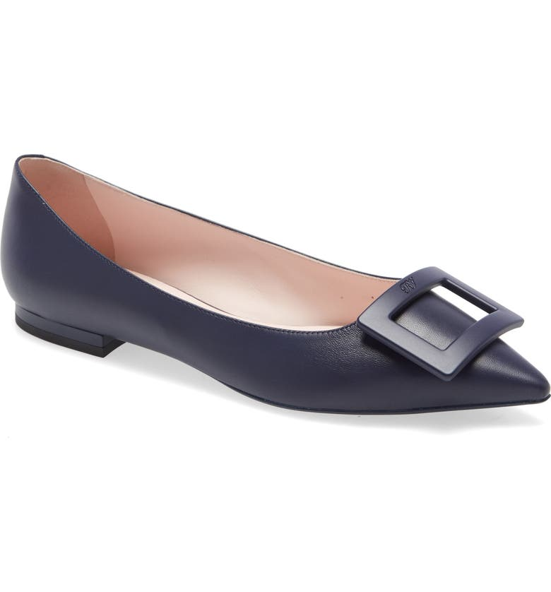 ROGER VIVIER Gommettine Buckle Pointy Toe Flat, Main, color, NAVY