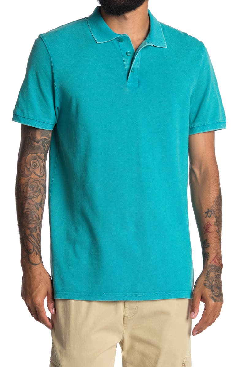ABOUND Solid Knit Polo, Main, color, TEAL COMPASS