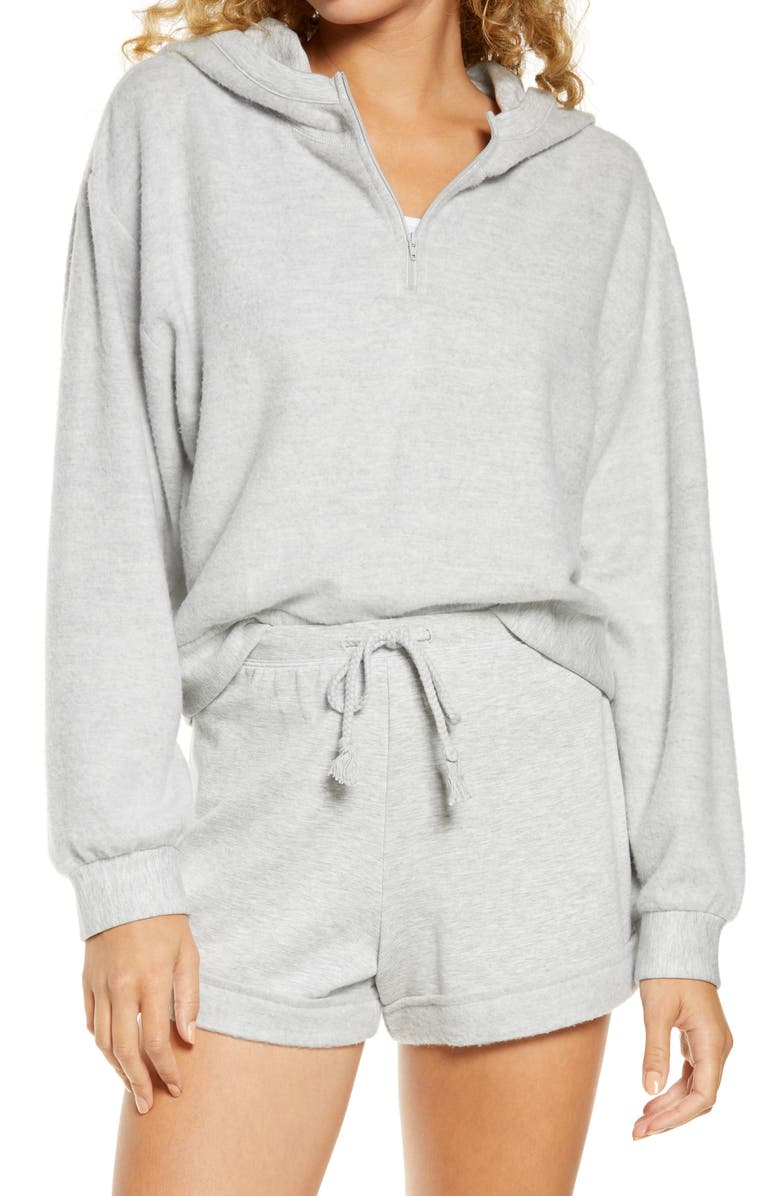 BP. Half Zip Fleece Hoodie, Main, color, GREY PEARL HEATHER