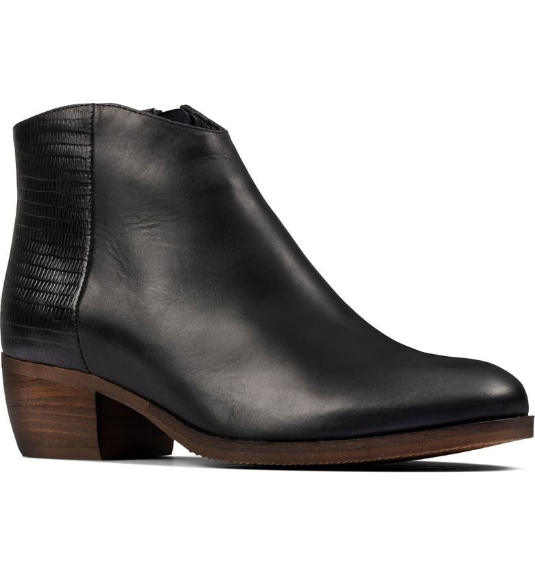 CLARKS<SUP>®</SUP> Mila Myth Ankle Boot, Main, color, BLACK LEATHER