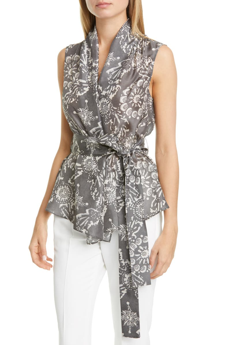 BRUNELLO CUCINELLI Floral Print Silk Wrap Blouse, Main, color, 097