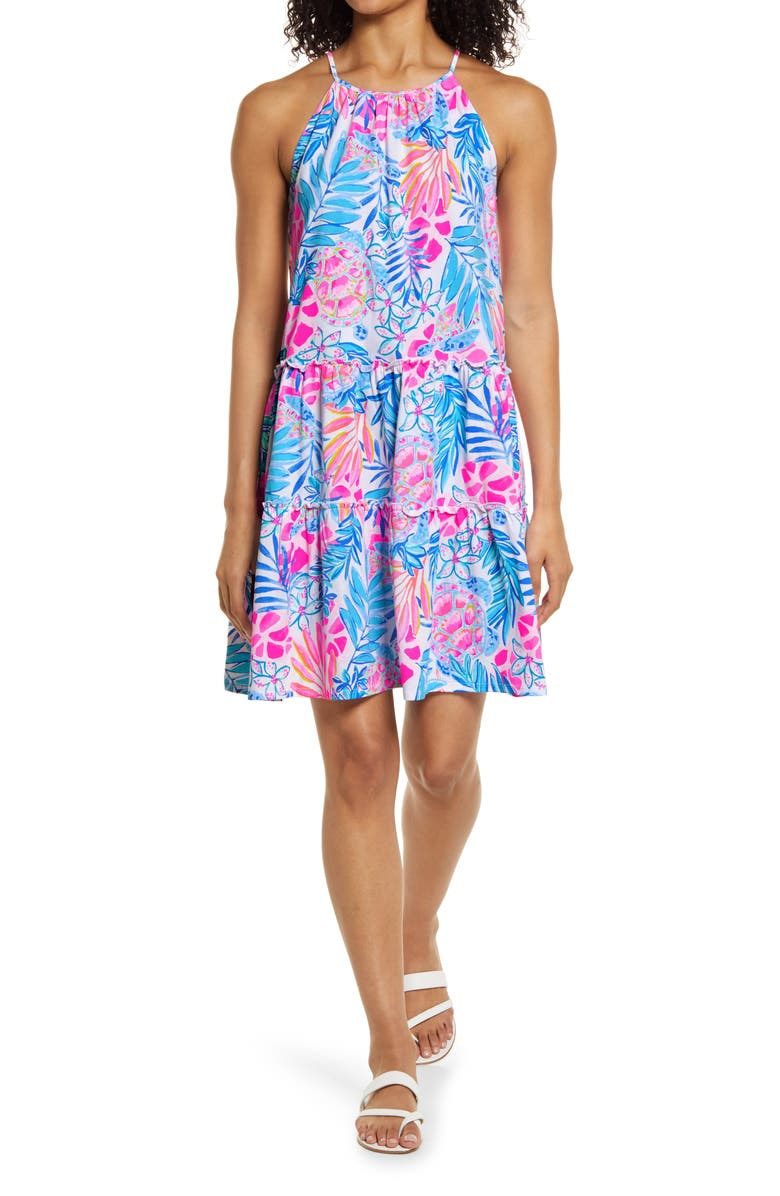 LILLY PULITZER<SUP>®</SUP> Evalyn Cotton Shift Dress, Main, color, RESORT WHITE RAINFOREST