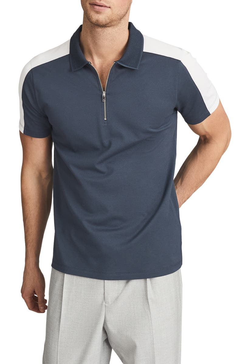 REISS Hackney Slim Fit Polo Shirt, Main, color, AIRFORCE BLUE/ WHITE