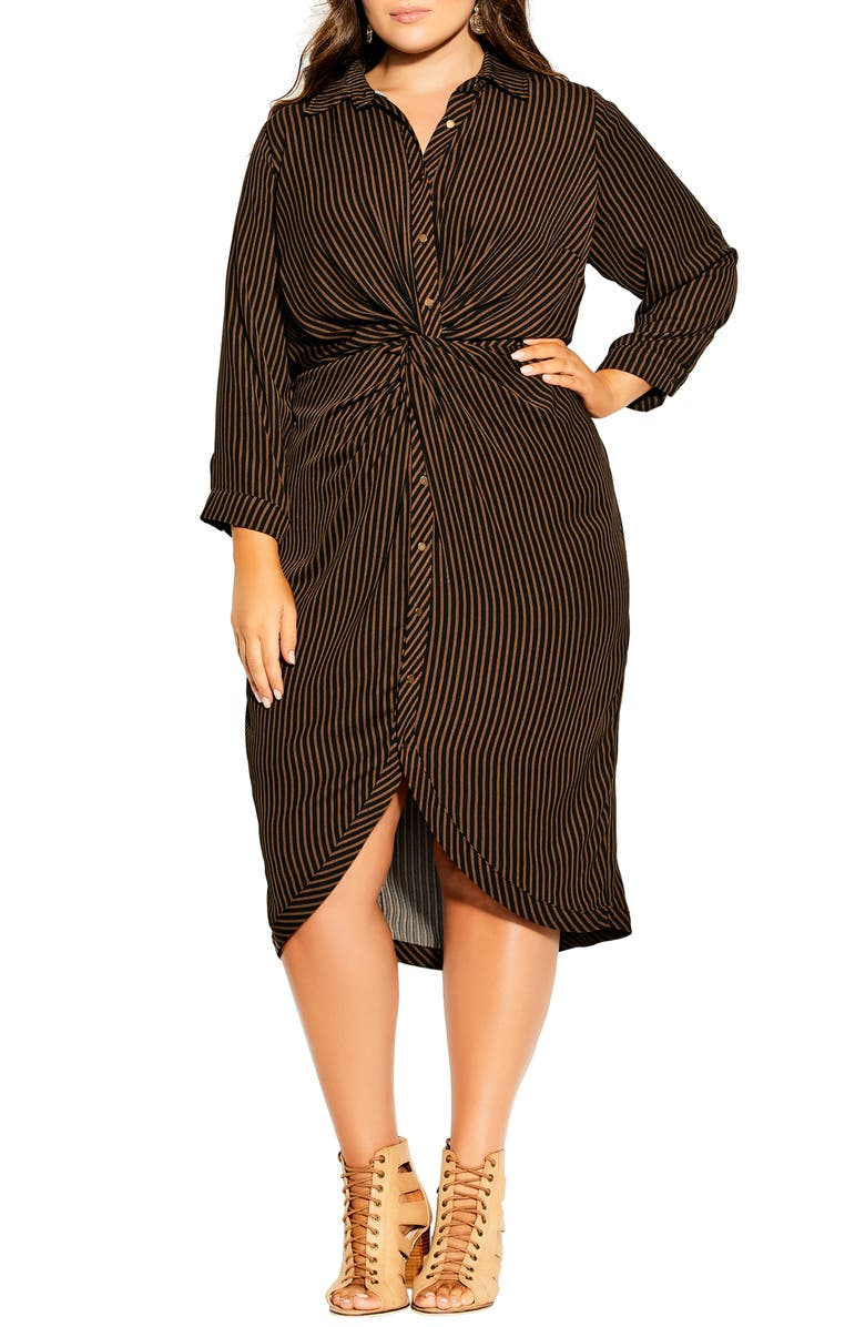 CITY CHIC Twisted Stripe Long Sleeve Shirtdress, Main, color, COPPER STRIPE