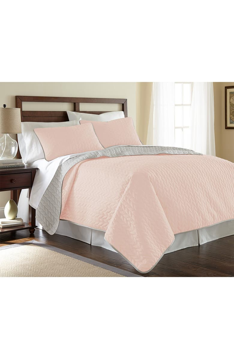 MODERN THREADS 3-Piece King Solid Reversible Coverlet Set - Blush/Silver, Main, color, BLUSH/SILVER
