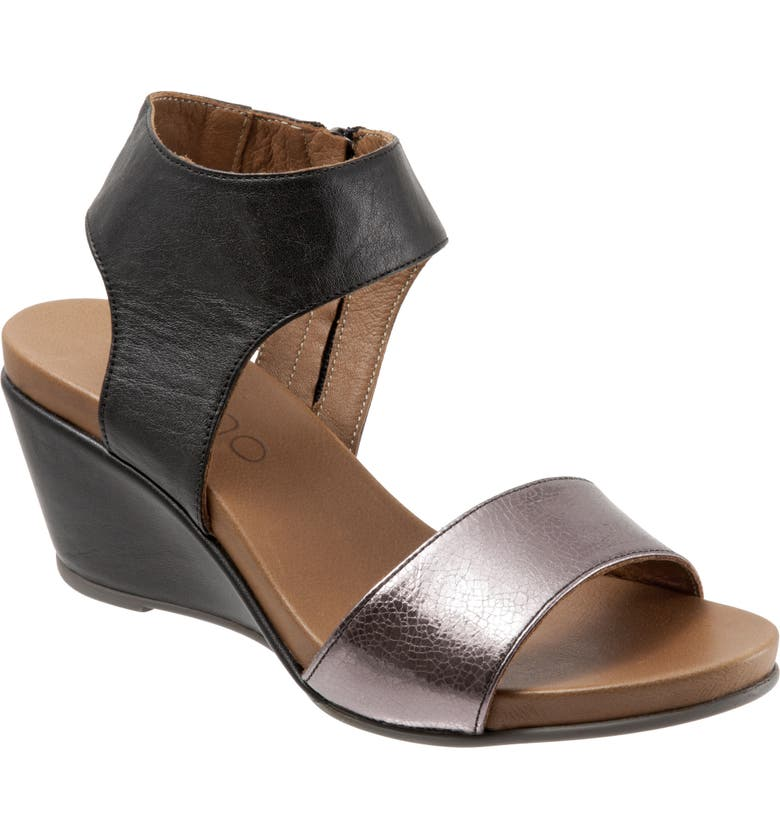 BUENO Ida Wedge Sandal, Main, color, PEWTER METALLIC/ BLACK LEATHER