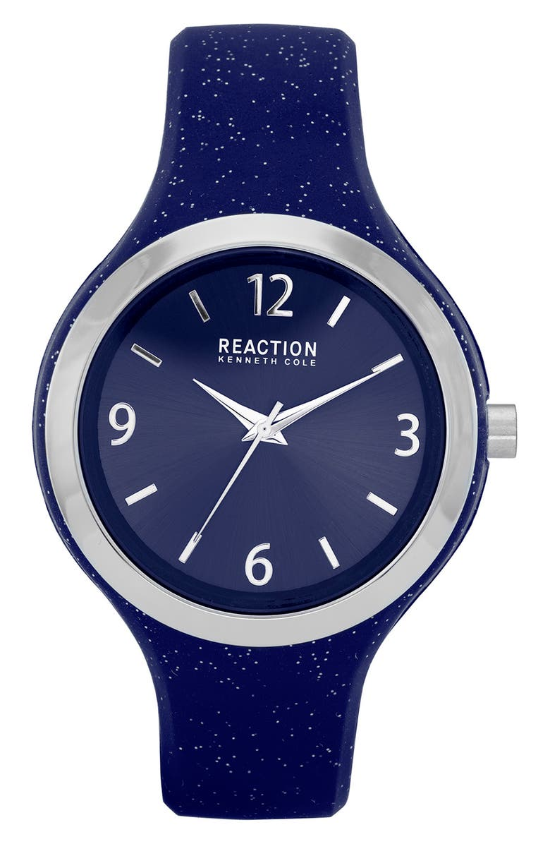 KENNETH COLE REACTION Women's Reaction 3 Hands Black Dial Silicone Watch, 42mm, Main, color, BLUE DARK