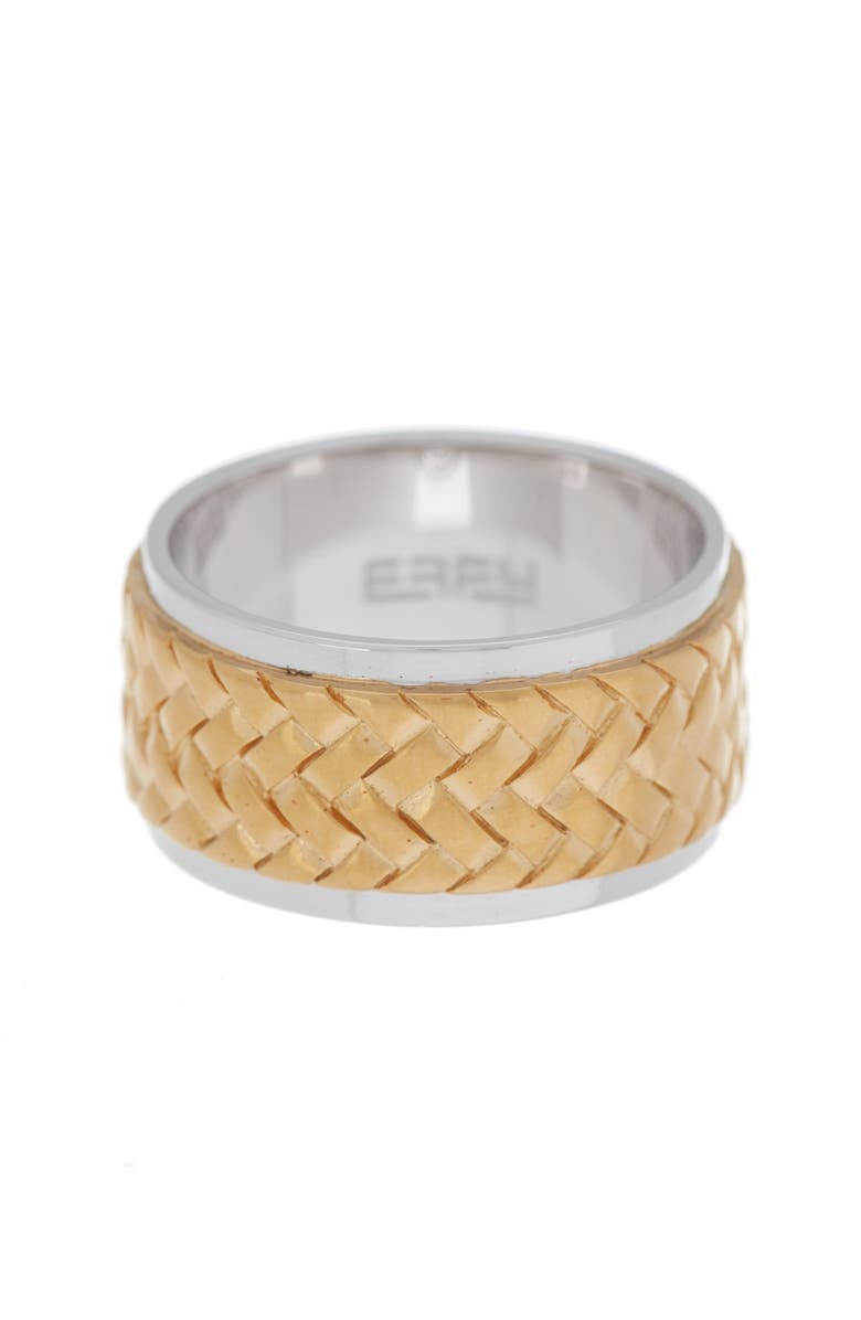 EFFY Sterling Silver & 18K Yellow Gold Woven Design Band Ring - Size 10, Main, color, SILVER