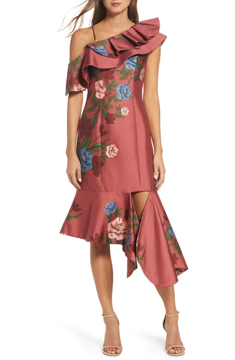 KEEPSAKE THE LABEL Night Lights Floral Asymmetrical Dress, Main, color, 603