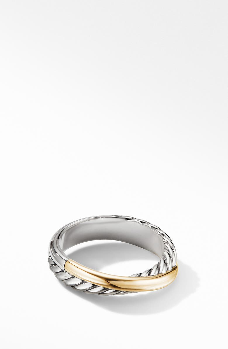 DAVID YURMAN Crossover Ring with 18K Yellow Gold, Main, color, TWO TONE