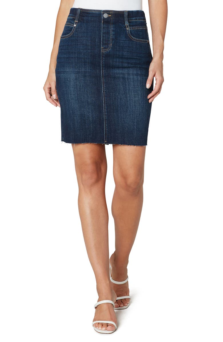 LIVERPOOL Gia Pull-On Denim Pencil Skirt, Main, color, LOWRY
