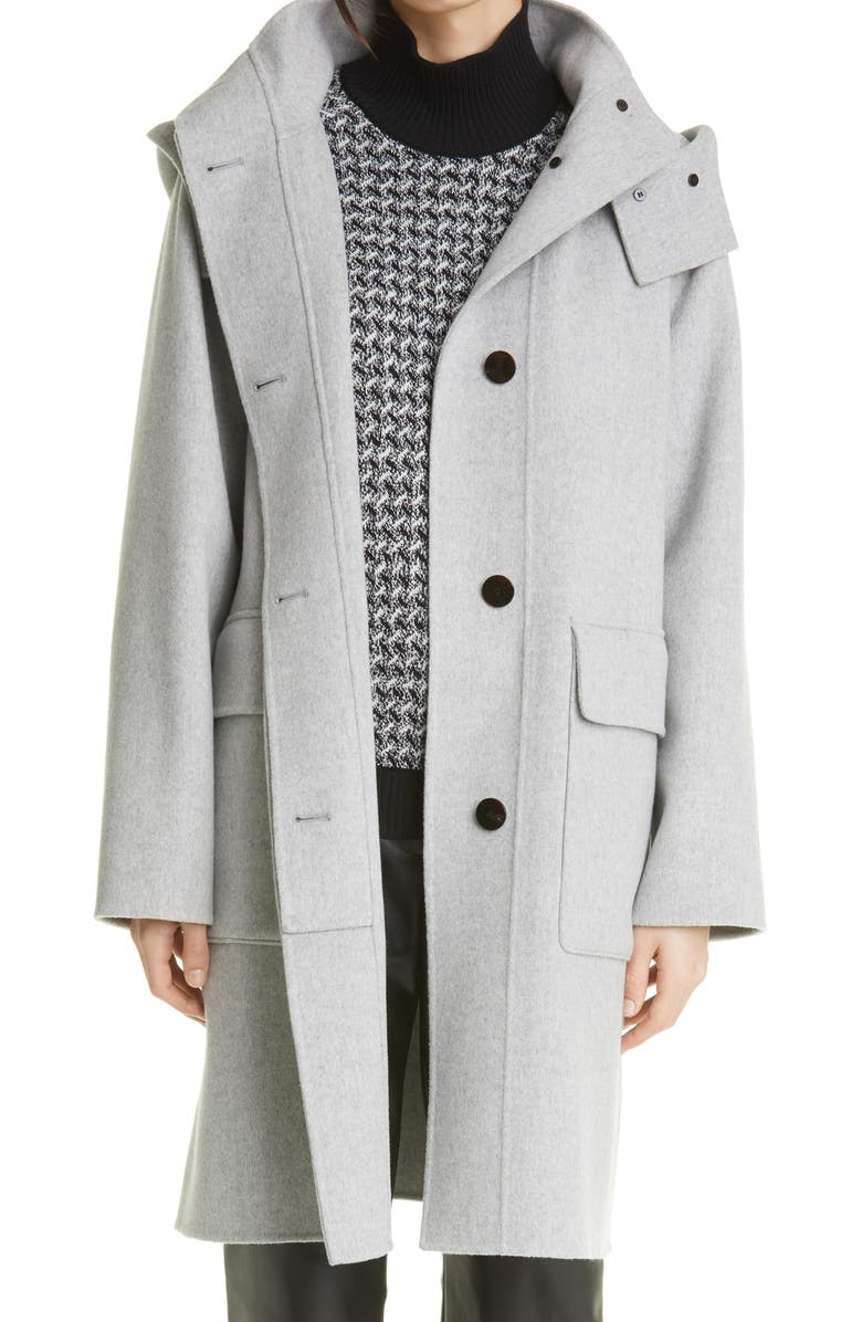 THEORY Hooded Wool Coat, Main, color, GREY