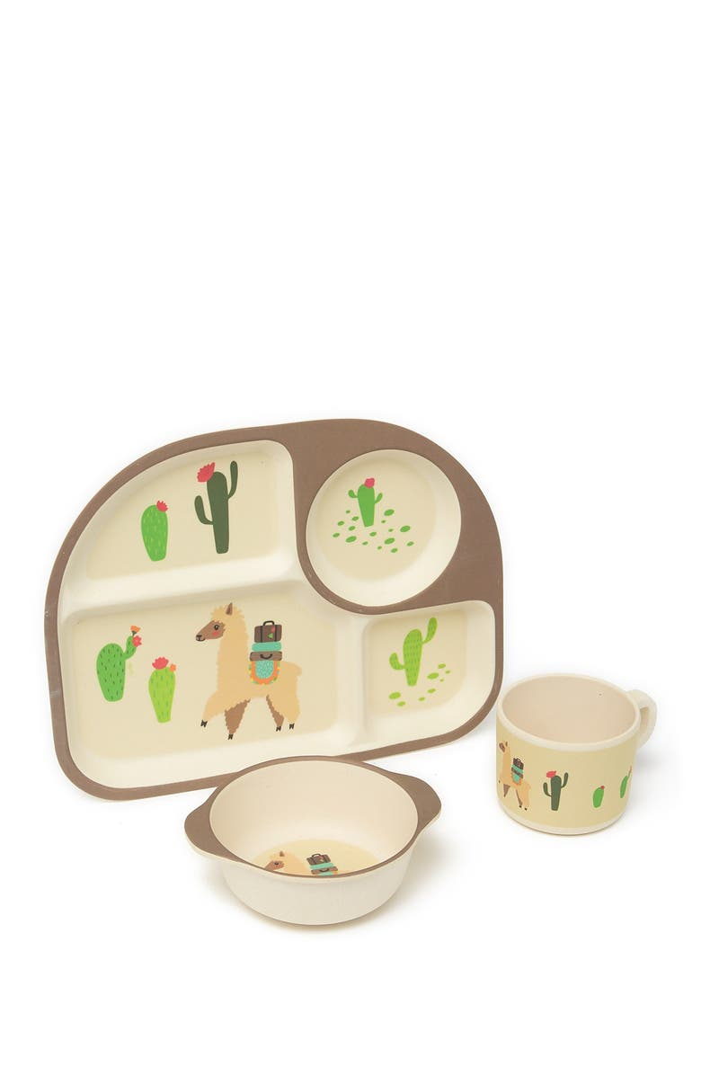 AZZURE HOME Brown Llama and Cactus 3-Piece Kids Dinner Set, Main, color, BROWN