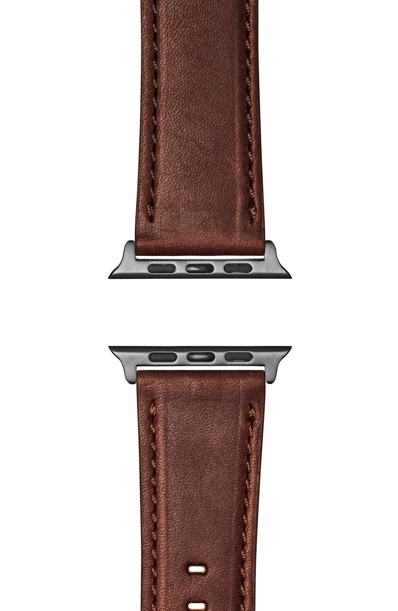 SHINOLA Leather Apple Watch<sup>®</sup> Strap, Main, color, CATTAIL BROWN/ SPACE GREY PLA