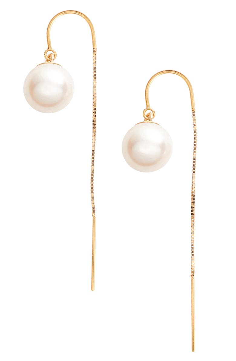 POPPY FINCH Pearl Threader Earrings, Main, color, YELLOW GOLD/ WHITE PEARL