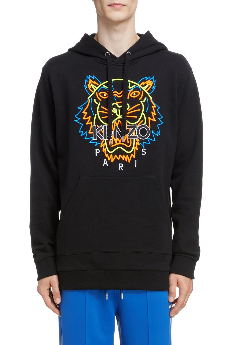 KENZO Neon Tiger Embroidered Hoodie, Main, color, 001