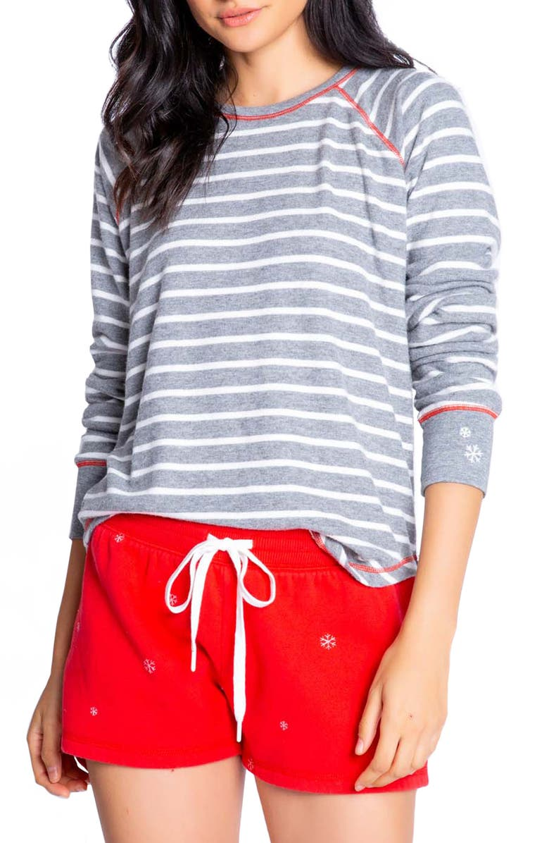 PJ SALVAGE Joyful Stripe Pajama Top, Main, color, 028