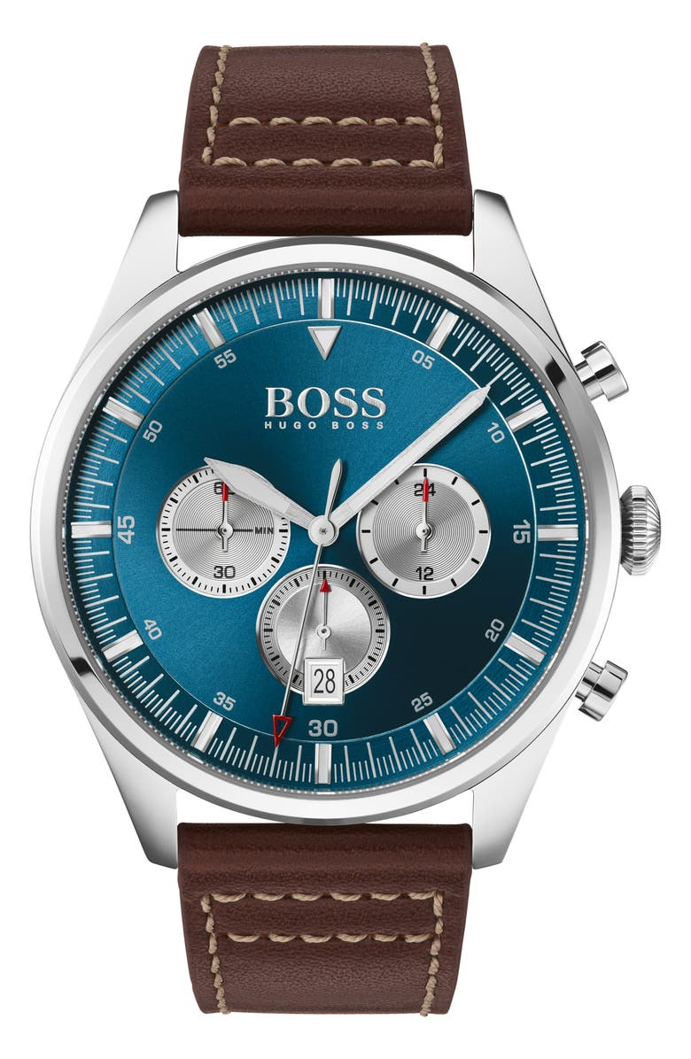 BOSS Pioneer Chronograph Leather Strap Watch, 44mm, Main, color, BROWN/ BLUE/ SILVER