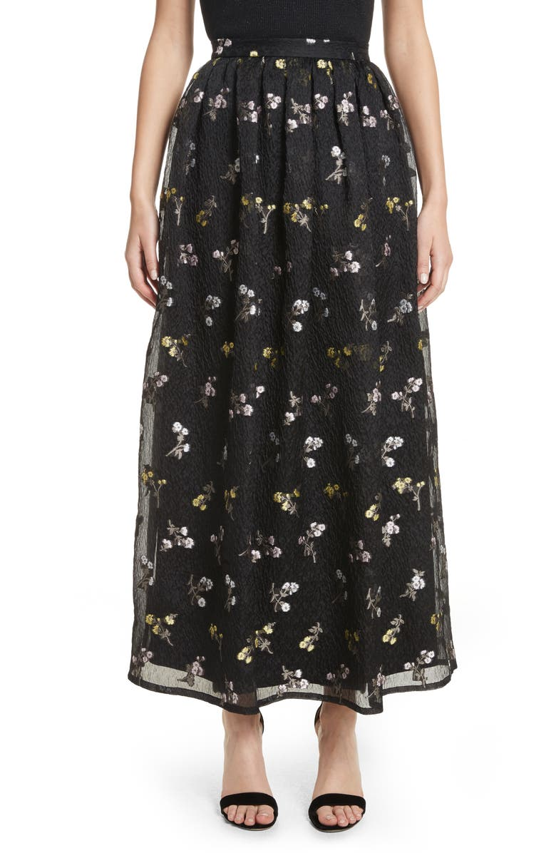 ST. JOHN COLLECTION Floral Fil Coupé Organza Cloque Maxi Skirt, Main, color, 001