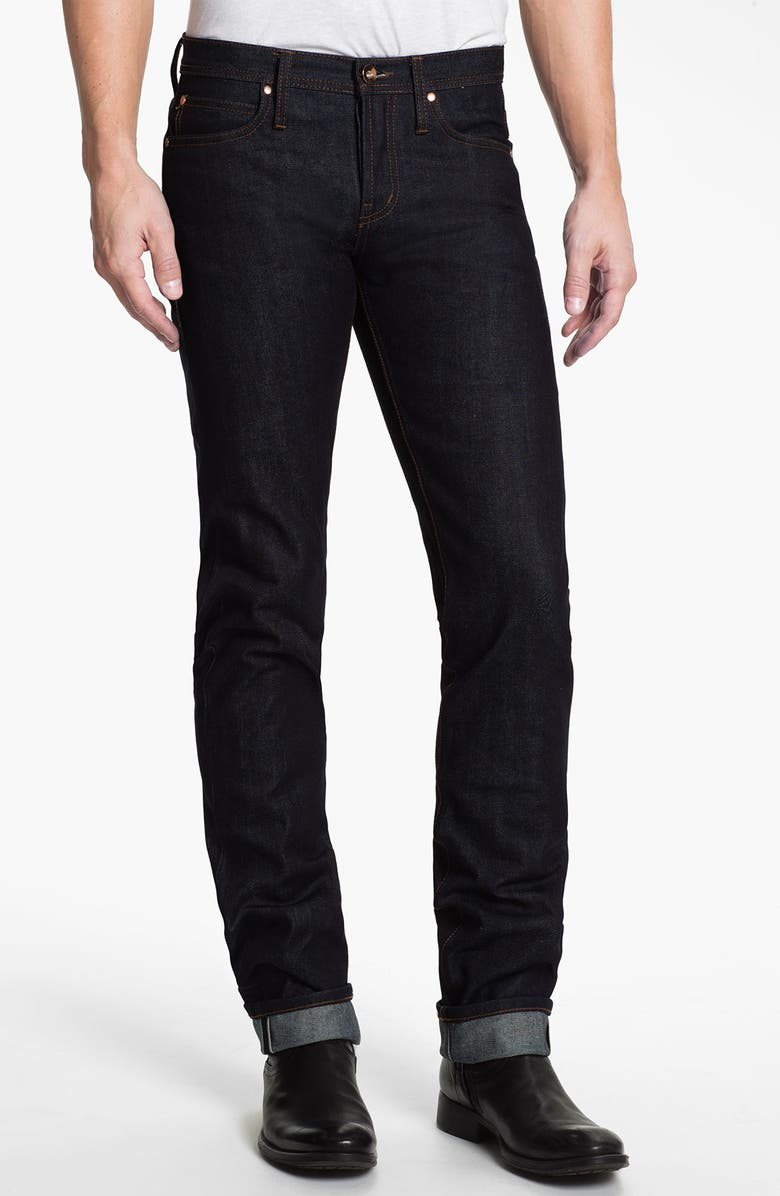 THE UNBRANDED BRAND UB101 Skinny Fit Raw Selvedge Jeans, Main, color, INDIGO