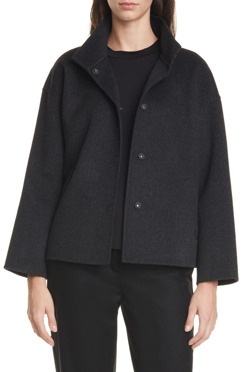 EILEEN FISHER Stand Collar Boxy Coat, Main, color, 021