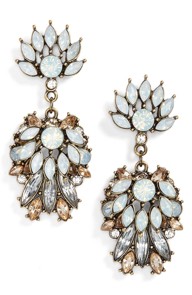 BP. Flower Stone Statement Earrings, Main, color, 710