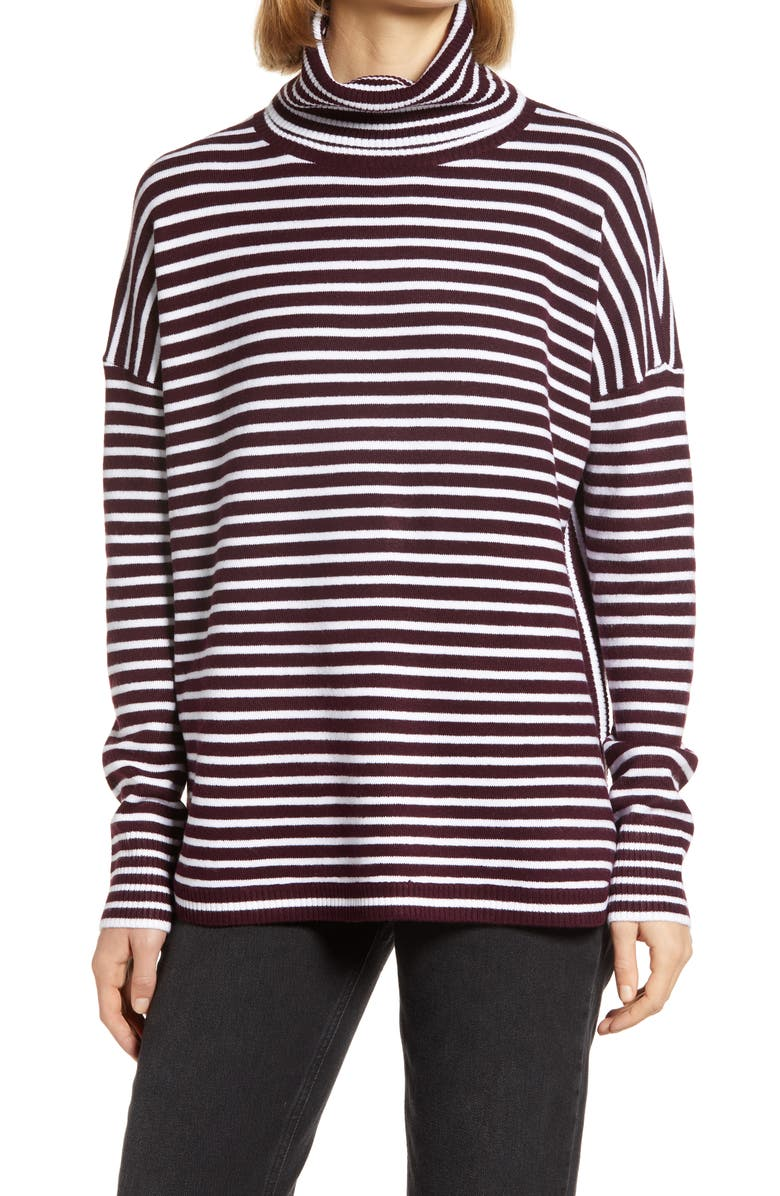 FRENCH CONNECTION Women's Babysoft Stripe Turtleneck Top, Main, color, EVENING WINE/ WINTER WHITE